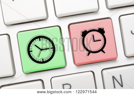 Clock symbol key on keyboard