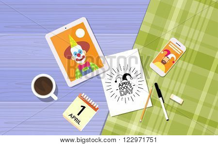 Fool Day April Holiday Clown In Jester Image Tablet Computer Cell Smart Phone Desk Top Angle View Flat Vector Illustration