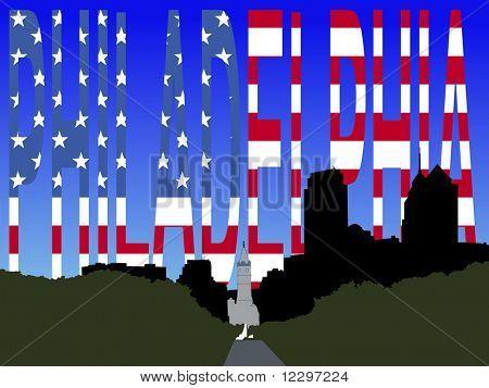 city hall and Benjamin franklin Parkway Philadelphia with flag text JPG