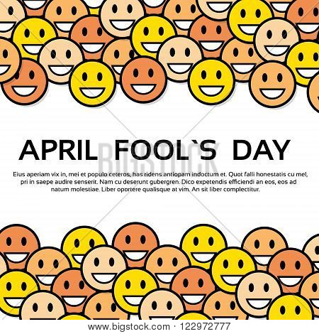 Smile Yellow Faces Fool Day April Holiday Greeting Card Copy Space Vector Illustration