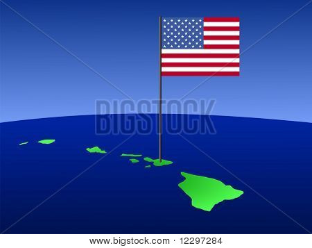Map of Hawaii with American flag on pole illustration JPG