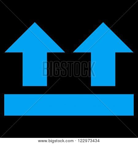 Bring Up vector icon. Style is flat icon symbol, blue color, black background.