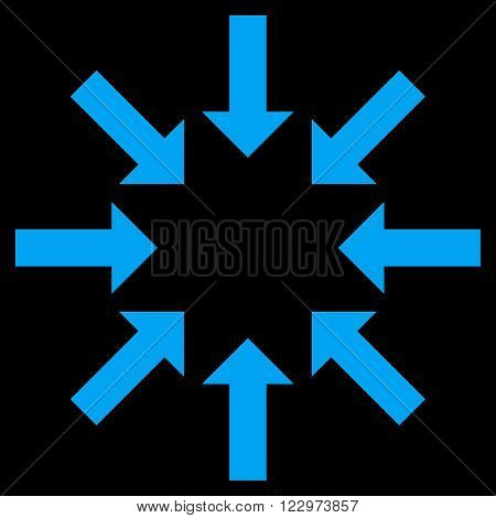 Collapse Arrows vector icon. Style is flat icon symbol, blue color, black background.
