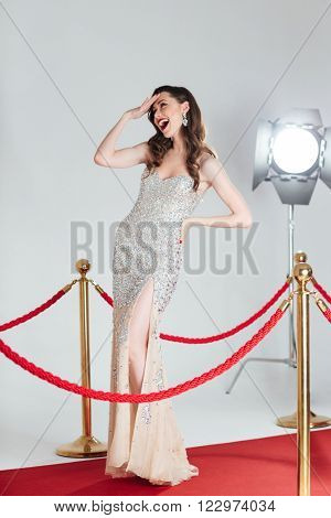 Cheerful woman posing on red carpet