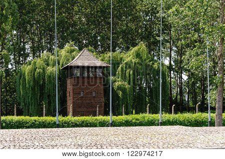 Auschwitz II - Birkenau large watch tower behind the International Monument