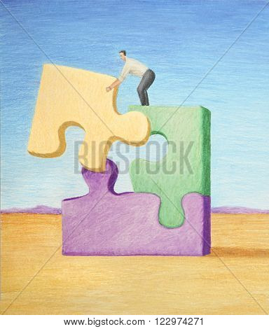 business illustration of colored pencil showing puzzle pieces being put together by businessman