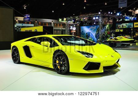 NONTHABURI - MARCH 22: Lamborghini Aventador LP 700-4 on display at The 37th Bangkok International Thailand Motor Show 2016 on March 22, 2016 Nonthaburi, Thailand.