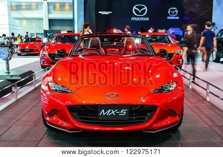 NONTHABURI - MARCH 22: Mazda MX-5 on display at The 37th Bangkok International Thailand Motor Show 2016 on March 22, 2016 Nonthaburi, Thailand.