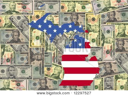 Map of Michigan with American flag and dollars illustration