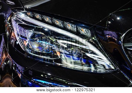 Headlight of automobile, for drive into dark.