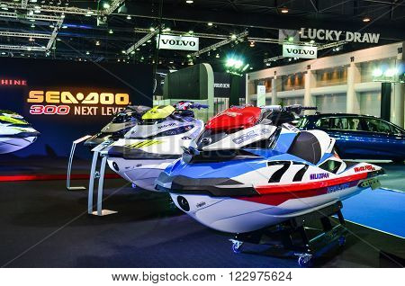 NONTHABURI - MARCH 22: Sea Doo Jet Ski on display at The 37th Bangkok International Thailand Motor Show 2016 on March 22 2016 Nonthaburi Thailand.