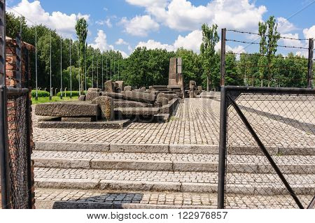 Auschwitz II - Birkenau International Monument to the Victims of Auschwitz at the end of the rail tracks