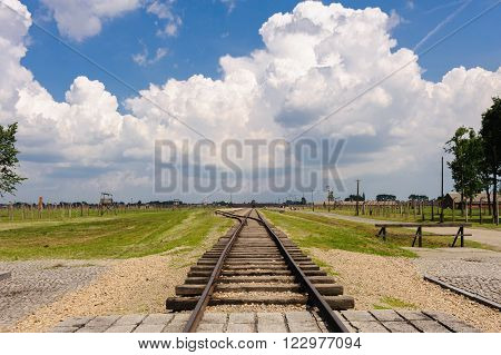 Auschwitz II - Birkenau, view from the end of the tracks at the International monument towards the Gate of Death, 1 mile away