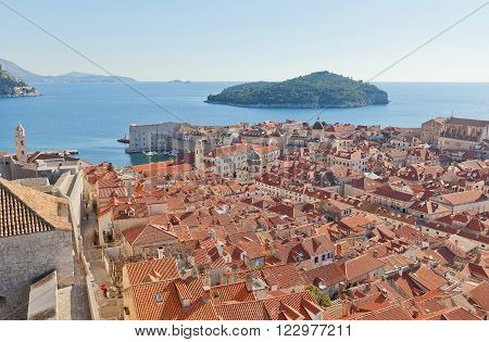 DUBROVNIK CROATIA - JANUARY 20 2016: View of Old Town from Minceta Tower in Dubrovnik (UNESCO site) Croatia. Was a popular filming site for HBO drama Game of Thrones