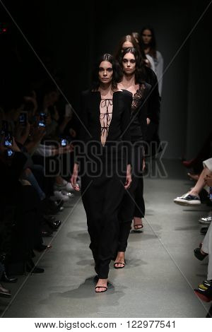 ISTANBUL TURKEY - MARCH 18 2016: Models showcases the latest creations of Salih Balta in Mercedes-Benz Fashion Week Istanbul
