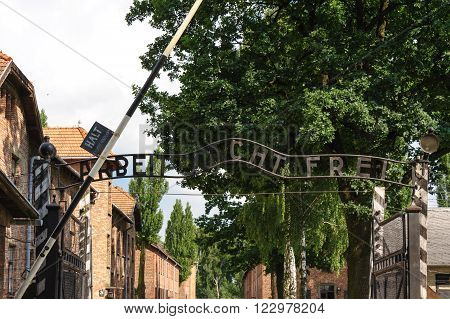 OSWIECIM, POLAND - JULY 3, 2009: Auschwitz I - Birkenau; from the reception building, prisoners would proceed through the