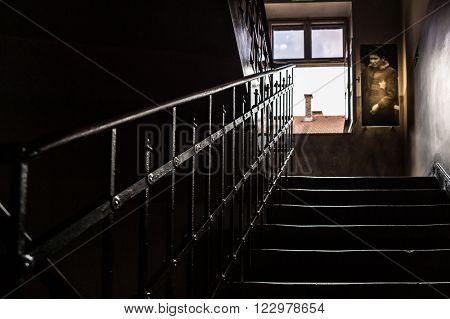 OSWIECIM, POLAND - JULY 3, 2009: Auschwitz I - Birkenau handrail and staircase inside one of the blocks