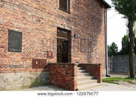 Auschwitz I - Birkenau Block 11 prison building front entrance also known as Death Block