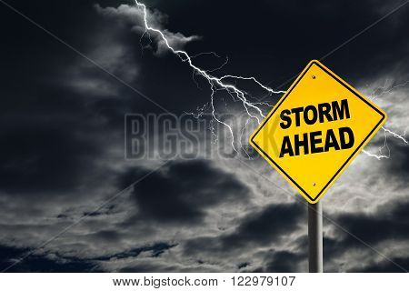 Storm Ahead warning sign against a dark cloudy and thunderous sky. Concept of political storm personal crisis or imminent danger ahead.