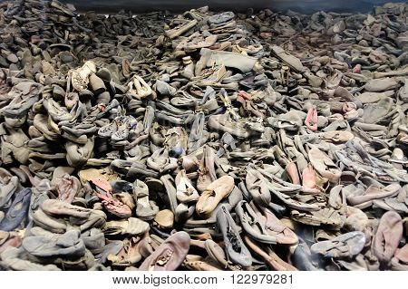 OSWIECIM POLAND - JULY 3 2009: Auschwitz I - Birkenau shoes collected from prisoners exhibited in Block 5 as Material Evidence of Crimes commited