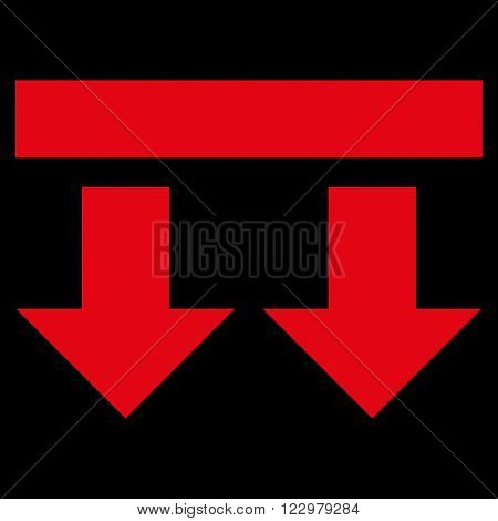 Bring Down vector icon. Style is flat icon symbol, red color, black background.