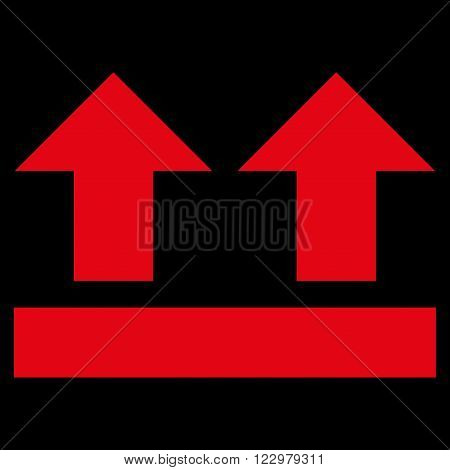 Bring Up vector icon. Style is flat icon symbol, red color, black background.