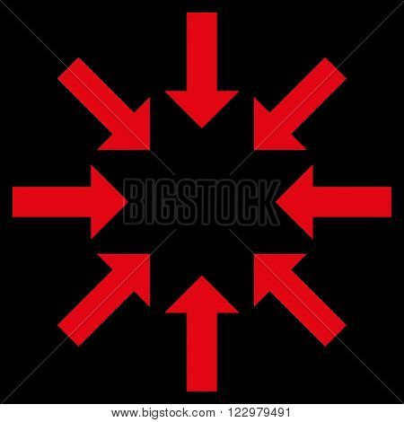 Collapse Arrows vector icon. Style is flat icon symbol, red color, black background.