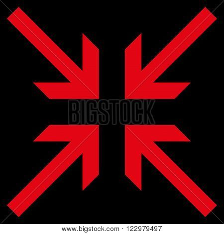 Collide Arrows vector icon. Style is flat icon symbol, red color, black background.