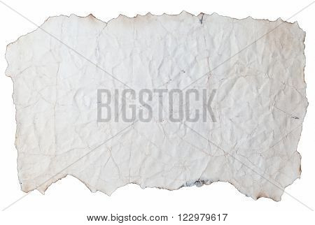 Antique Piece of Paper Isolated on White Background