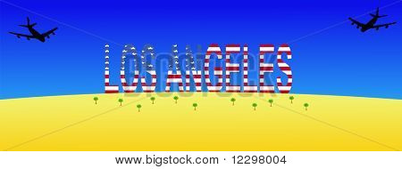 two planes flying to giant Los Angeles sign JPG