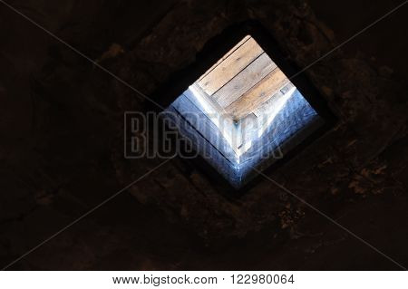OSWIECIM, POLAND - JULY 3, 2009: Auschwitz I - Birkenau; replica chutes representing the original chutes through which Zyklon B cyanide pellets were poured into the gas chamber
