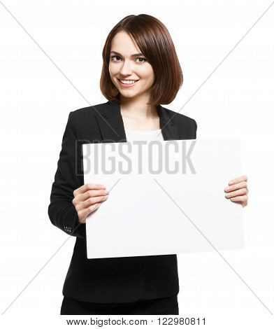 Happy Smiling Young Business Woman Holding Blank Placard. Isolated On White WIth Clipping Pach. Place For Your Text Or Logo.