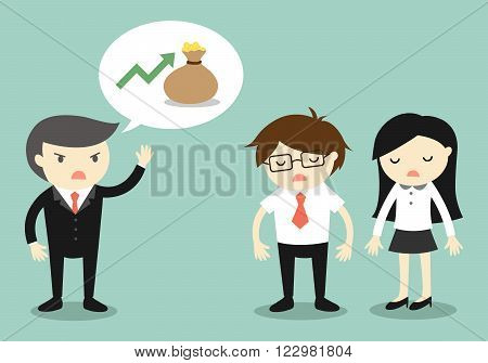 Business concept, Boss talking about revenue of company. Vector illustration