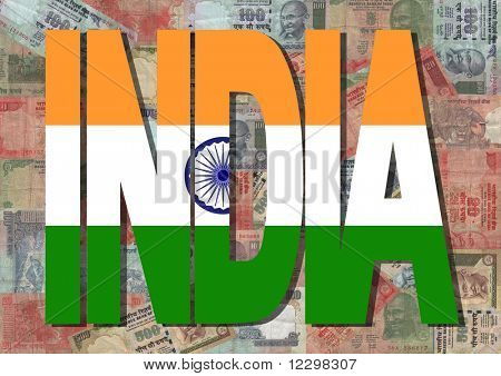India text with collage of colourful Indian Rupees illustration