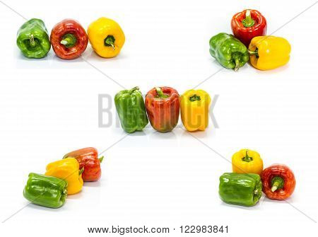set of colored peppers over white background, Fresh vegetables sweet Peppers or Bell peppers