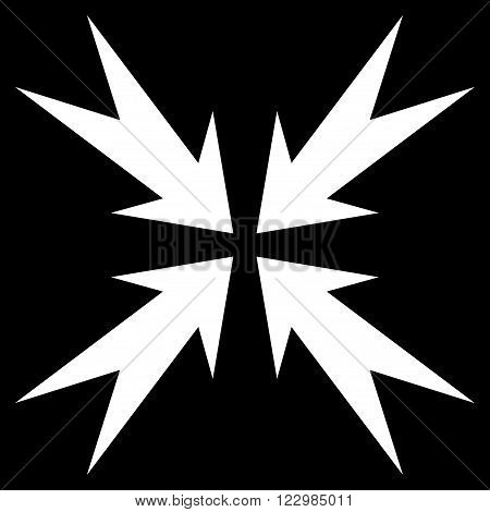 Compression Arrows vector icon. Style is flat icon symbol, white color, black background.