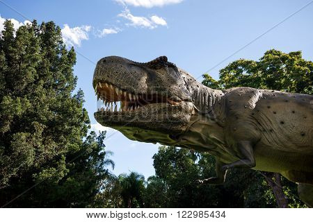 PERTH, WA / AUSTRALIA - MARCH 13: Tyrannosaurus Rex roaring in Perth Zoo as part of Zoorassic exhibition in March 2016