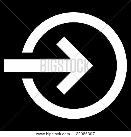 Import vector icon. Style is flat icon symbol, white color, black background.