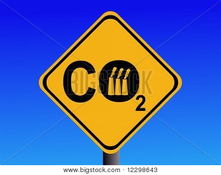 Warning CO2 emissions from industry sign illustration JPG