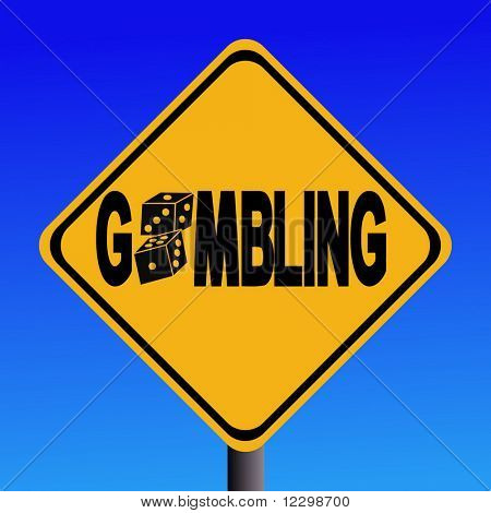 warning gambling sign with two dice illustration