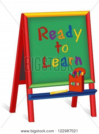 Ready to Learn text on green chalkboard wood easel for children, box of multi color chalk, isolated on white background, for preschool, daycare, nursery school, kindergarten.