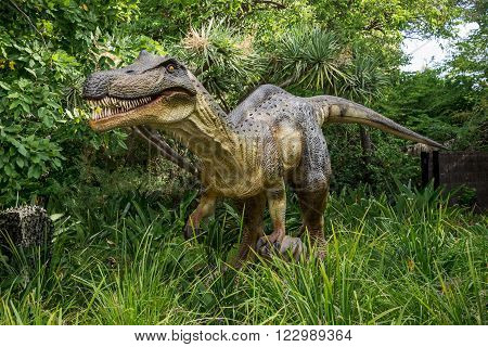 PERTH, WA / AUSTRALIA - MARCH 13: Baryonyx standing in tall grass display model in Perth Zoo as part of Zoorassic exhibition in March 2016