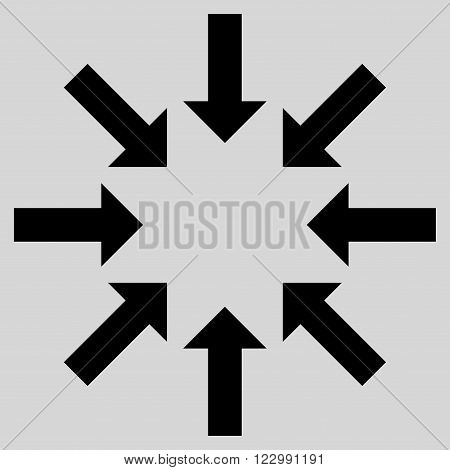 Collapse Arrows vector icon. Style is flat icon symbol, black color, light gray background.