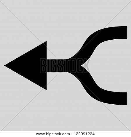 Combine Arrow Left vector icon. Style is flat icon symbol, black color, light gray background.