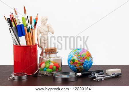 Artwork Workplace With Creative Accessories, Creative Art Work On A White Background.