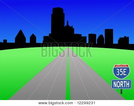 Dallas Skyline with interstate 35E illustration JPG