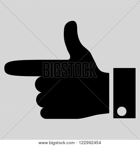 Hand Pointer Left vector icon. Style is flat icon symbol, black color, light gray background.