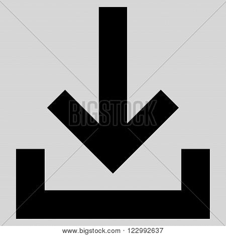 Inbox vector icon. Style is flat icon symbol, black color, light gray background.