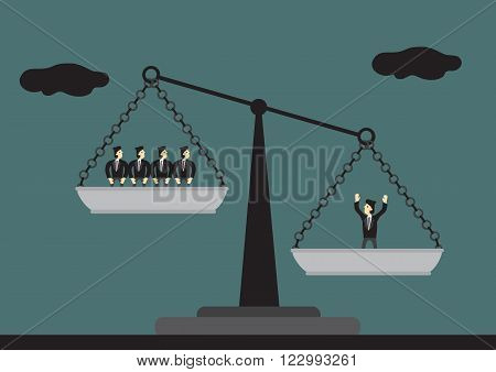 One man on the weighing scales is heavier than many men on the other side. Vector cartoon illustration on concept of a valuable human asset.