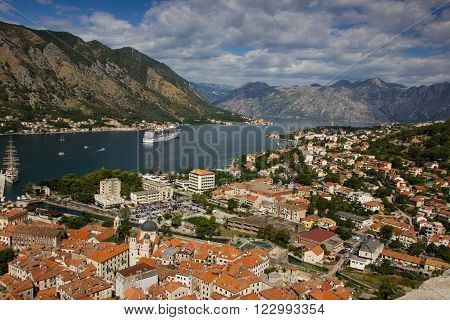 View of kotor old town from Lovcen mountain in Kotor Montenegro. Kotor is part of the unesco world
